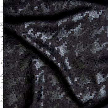 Black Gloss Houndstooth on Black Ponte De Roma Fabric By The Yard