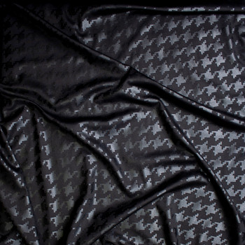 Black Gloss Houndstooth on Black Ponte De Roma Fabric By The Yard - Wide shot