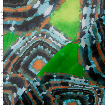 Light Blue, Midnight, Black, and Rust Medallions on Lime Green Crinkle Chiffon Print Fabric By The Yard