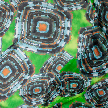 Light Blue, Midnight, Black, and Rust Medallions on Lime Green Crinkle Chiffon Print Fabric By The Yard - Wide shot