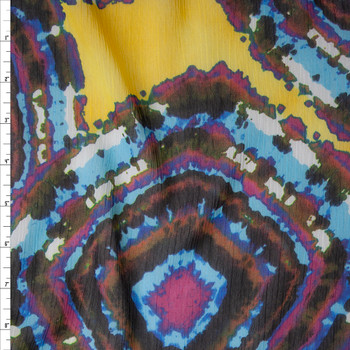 Blue, Purple, and Brown Medallions on Bright Yellow Crinkle Chiffon Print Fabric By The Yard