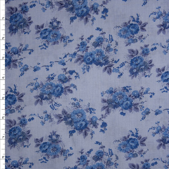 Blue on Blue Antique Floral Light Midweight Linen Fabric By The Yard