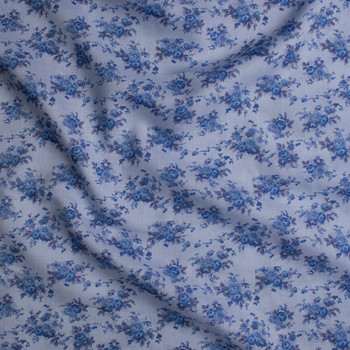 Blue on Blue Antique Floral Light Midweight Linen Fabric By The Yard - Wide shot