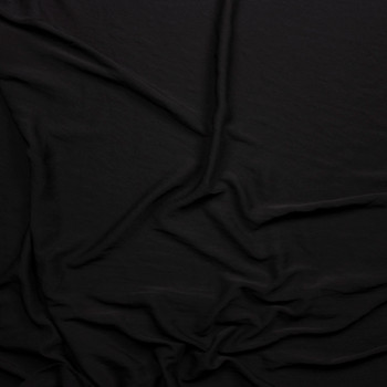 Black Soft Brushed Polyester Challis Fabric By The Yard - Wide shot