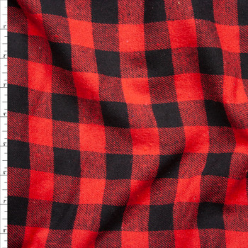"""Red and Black 1"""" Buffalo Check Midweight Flannel Fabric By The Yard"""