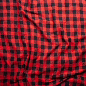 "Red and Black 1"" Buffalo Check Midweight Flannel Fabric By The Yard - Wide shot"