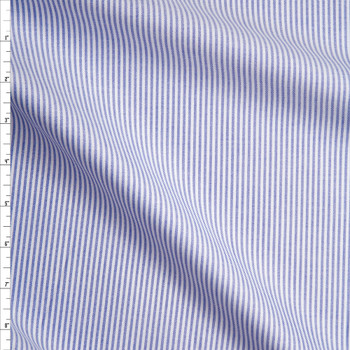 Light Blue and White Vertical Stripes Cotton Oxford Cloth from 'Brooks Brothers' Fabric By The Yard
