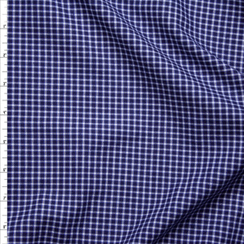 White on Navy Blue Plaid Fine Flannel Shirting from 'Brooks Brothers' Fabric By The Yard
