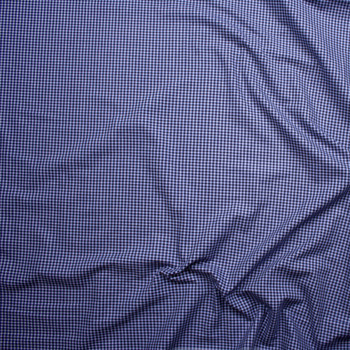 White on Navy Blue Plaid Fine Flannel Shirting from 'Brooks Brothers' Fabric By The Yard - Wide shot