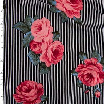 Pink and Green Roses on Narrow Black and White Stripe Double Brushed Poly/Spandex Knit Fabric By The Yard