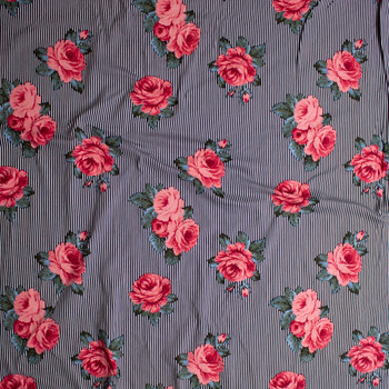 Pink and Green Roses on Narrow Black and White Stripe Double Brushed Poly/Spandex Knit Fabric By The Yard - Wide shot