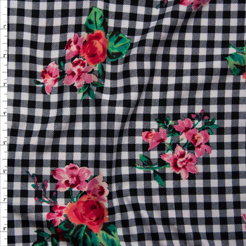 Pink and Green Paint Style Roses on Black and White Gingham Double Brushed Poly/Spandex Knit Fabric By The Yard