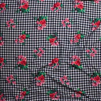 Pink and Green Paint Style Roses on Black and White Gingham Double Brushed Poly/Spandex Knit Fabric By The Yard - Wide shot