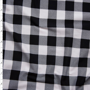 "a936dce24c2 Black and White 1"" Gingham Double Brushed Poly/Spandex Knit Fabric By The  Yard ..."