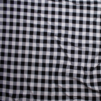 """0eba59ba6c9 ... Black and White 1"""" Gingham Double Brushed Poly/Spandex Knit Fabric By  The Yard"""