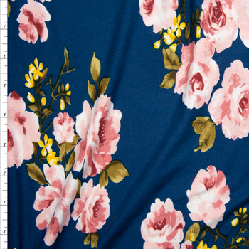 Pink, Olive, and Yellow Floral on Teal Double Brushed Poly/Spandex Knit Fabric By The Yard