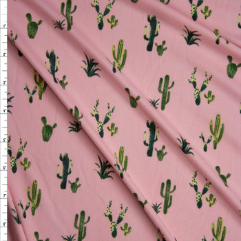 Green Cactus on Pink Double Brushed Poly/Spandex Knit Fabric By The Yard