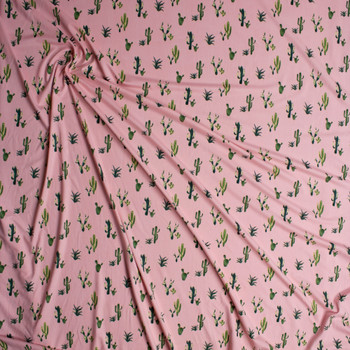 Green Cactus on Pink Double Brushed Poly/Spandex Knit Fabric By The Yard - Wide shot