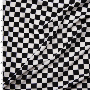 "dd9c14dbc1a Black and White 1/2"" Checkers Double Brushed Poly/Spandex Knit Fabric By ..."