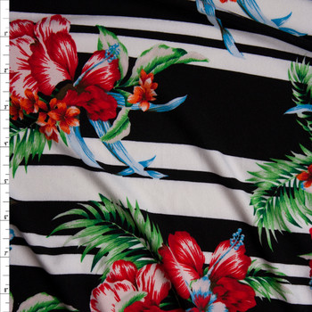Hawaiian Floral on Horizontal Black and White Stripe Double Brushed Poly/Spandex Knit Fabric By The Yard