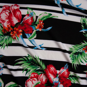 Hawaiian Floral on Horizontal Black and White Stripe Double Brushed Poly/Spandex Knit Fabric By The Yard - Wide shot