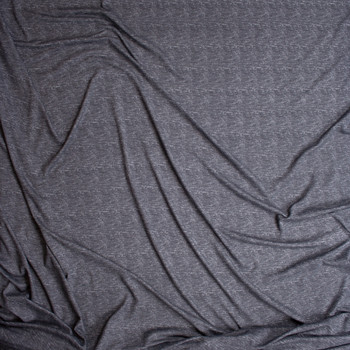 Dark Grey Grunge Heather Double Brushed Poly/Spandex Knit Fabric By The Yard - Wide shot