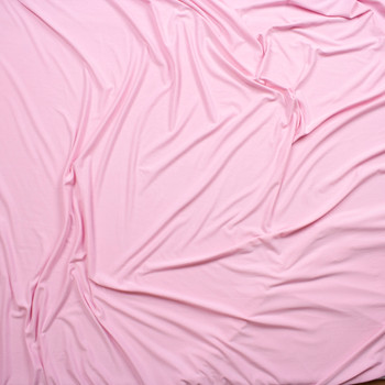 Baby Pink Double Brushed Poly/Spandex Knit Fabric By The Yard - Wide shot