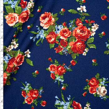 Rose Cluster Floral on Navy Blue Crepe-Like Liverpool Knit Fabric By The Yard