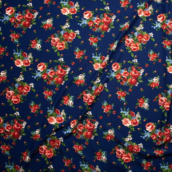 Rose Cluster Floral on Navy Blue Crepe-Like Liverpool Knit Fabric By The Yard - Wide shot