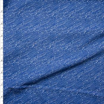 Blue Denim Like Diagonal Stripe on White Crepe-Like Liverpool Knit Fabric By The Yard