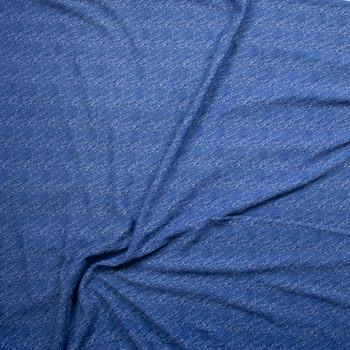 Blue Denim Like Diagonal Stripe on White Crepe-Like Liverpool Knit Fabric By The Yard - Wide shot
