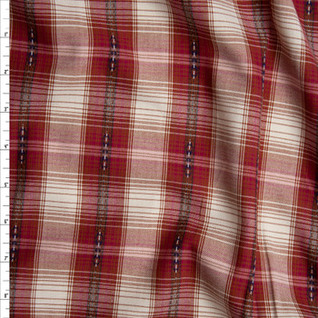 Red and White Ponderosa Plaid Cotton Shirting from 'Robert Kaufman' Fabric By The Yard