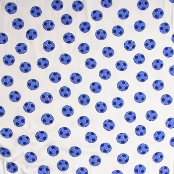 Blue Soccer Balls on White Lightweight Stretch Cotton Ribbed Knit Fabric By The Yard - Wide shot