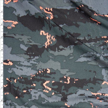 Black, Charcoal, and Peach Camouflage Lightweight Brushed Stretch Poly Knit Fabric By The Yard