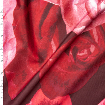 Pink and Wine Large Rose Floral Scuba Knit Fabric By The Yard