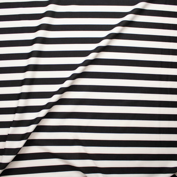 ba452dcc3d1 ... Black and White Stripes Scuba Knit Fabric By The Yard - Wide shot