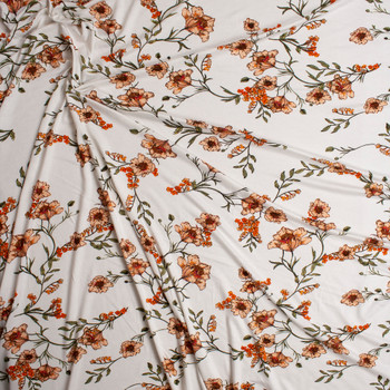 3ee3fdde421 ... Orange and Green Poppies on Offwhite Lightweight Stretch Rayon Jersey  Knit Fabric By The Yard -
