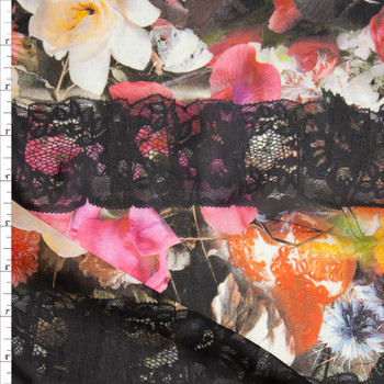 Black Lace on Spring Garden Floral Chiffon Fabric By The Yard