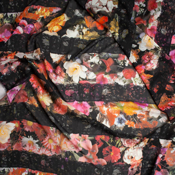 Black Lace on Spring Garden Floral Chiffon Fabric By The Yard - Wide shot