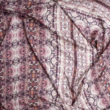 Grunge Pink Ornate Rayon Sateen Fabric By The Yard - Wide shot
