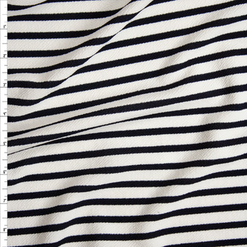Navy on White Pencil Stripe Crepe Like Liverpool Knit Fabric By The Yard