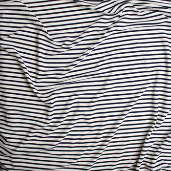 Navy on White Pencil Stripe Crepe Like Liverpool Knit Fabric By The Yard - Wide shot