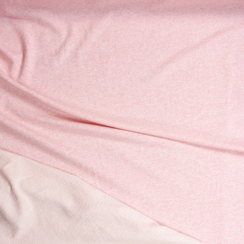 Pink Heather Cotton French Terry Fabric By The Yard - Wide shot