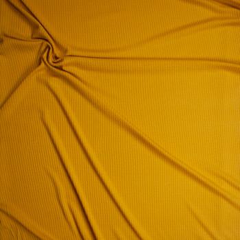 Mustard Soft Waffle Knit Fabric By The Yard - Wide shot