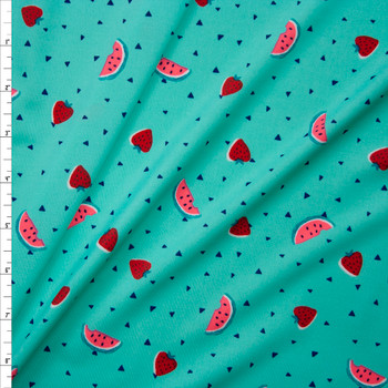 Watermelons and Strawberries on Bright Mint Green Stretch Nylon/Lycra Knit Fabric By The Yard