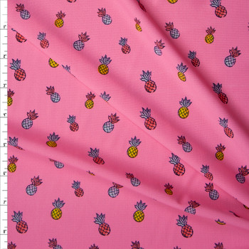Pineapples on Neon Pink Stretch Nylon/Lycra Knit Fabric By The Yard