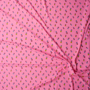 Pineapples on Neon Pink Stretch Nylon/Lycra Knit Fabric By The Yard - Wide shot