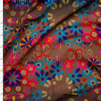 Bright Grunge Vertical Flower Stripe on Brown Stretch Nylon/Lycra Knit Fabric By The Yard