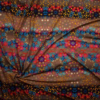 Bright Grunge Vertical Flower Stripe on Brown Stretch Nylon/Lycra Knit Fabric By The Yard - Wide shot