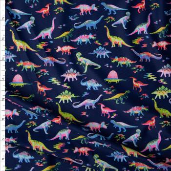 Bright Dinosaurs on Navy Blue Stretch Nylon/Lycra Knit Fabric By The Yard